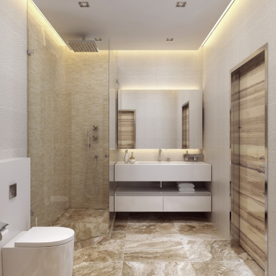 Design Contemporary style bathrooms.