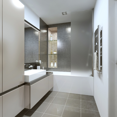 Designed in the style of Contemporary bathrooms.