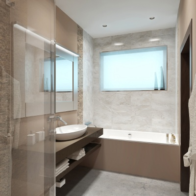 Beautiful bathroom in style hi-tech.